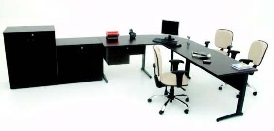 estação de trabalho com mesa em L sm - móveis-para-escritório-sp