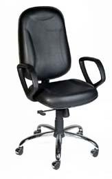 Cadeira Presidente Básica STE - Base Cromada - Preta