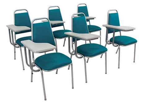 Cadeira Auditório Hotelaria STH - Verde - Cromada com Prancheta