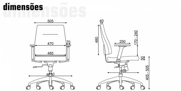 Cadeira Diretor Slim - Dimensões