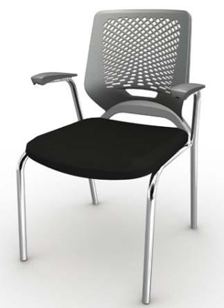 Cadeira Fixa 4 Pés Cromada - Preta