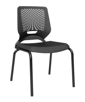 Cadeira Fixa 4 Pés Preta