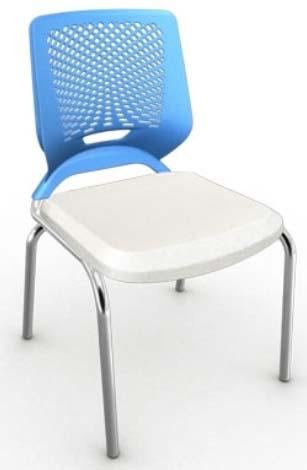 Cadeira Fixa 4 Pés Cromada - Encosto Azul