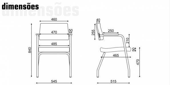 Cadeira Fixa Slim - 4 Pés - Dimensões