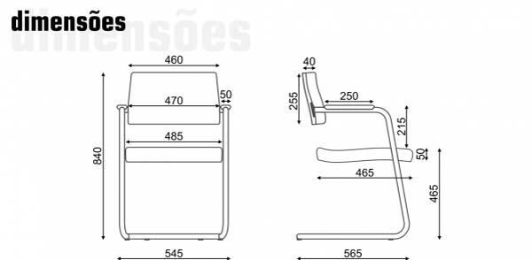 Cadeira Fixa Slim - Em S - Dimensões