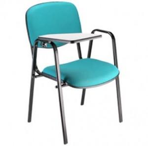 Cadeira Empilhável Estofada - Universitária - Azul Claro