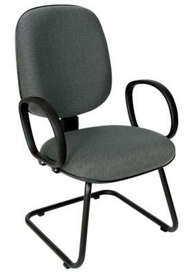 Cadeira Fixa Diretor - Base em S - Com Braços - Cinza