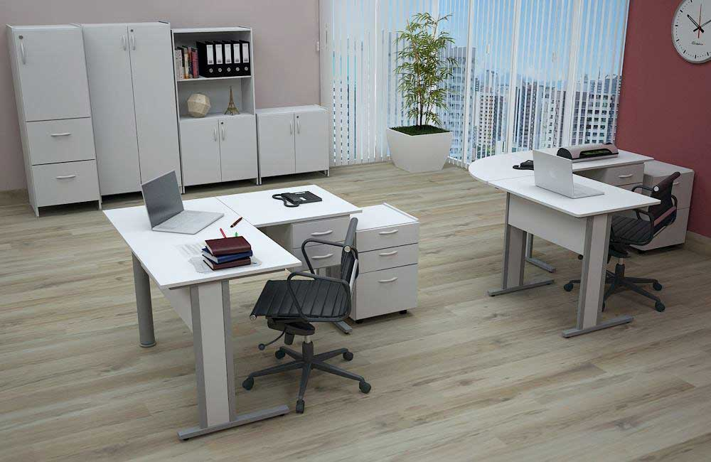 estação de trabalho, mesa em L