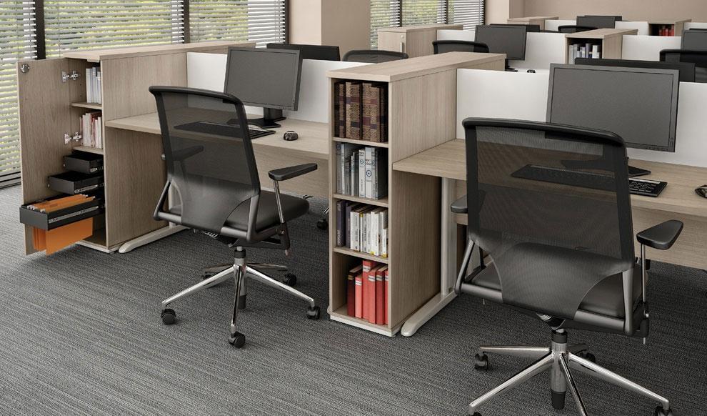 Estação de trabalho com armários, mesas plataforma, móveis para escritório em SP