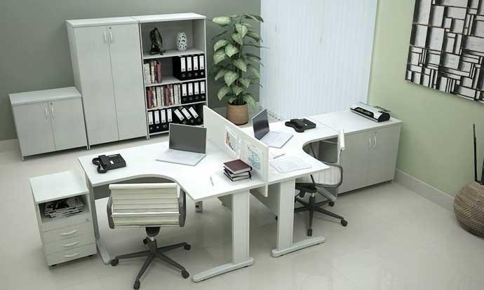Estação de trabalho ou mesa em L
