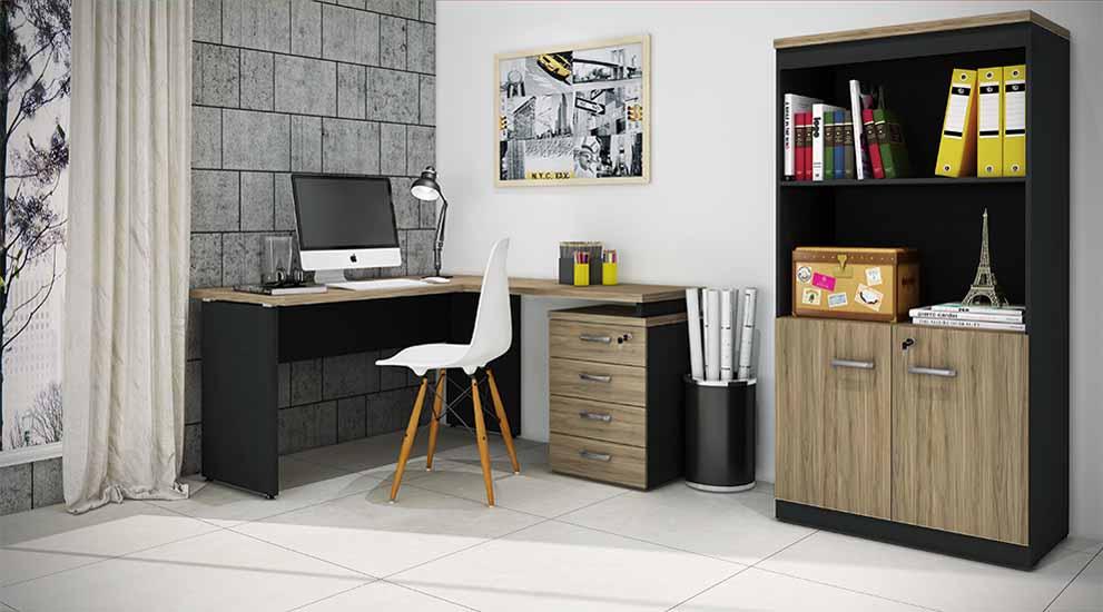 Mesa Para Computador e Home Office - Em L Com 4 Gavetas