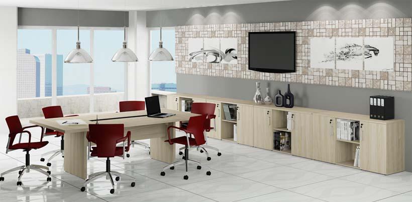 Mesa em L Básica AV - Conjunto com Mesa de Reunião