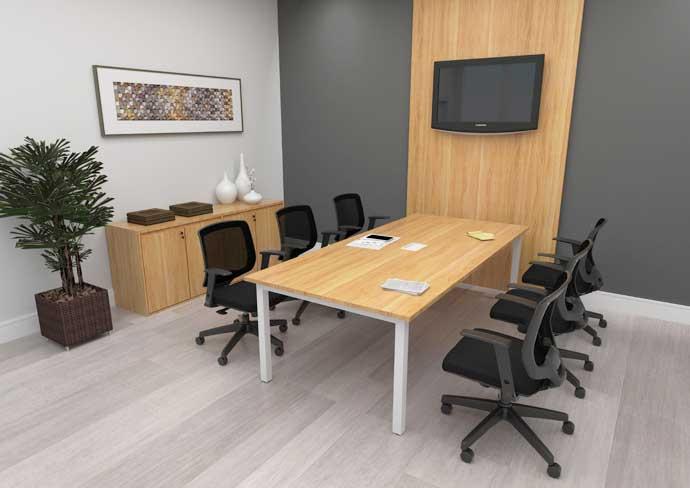 Mesa de Reunião Linha Plataforma - Visão Ampla - Cadeiras Pretas