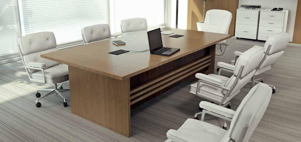 Mesa de Reunião Retangular Person - Cadeiras Brancas