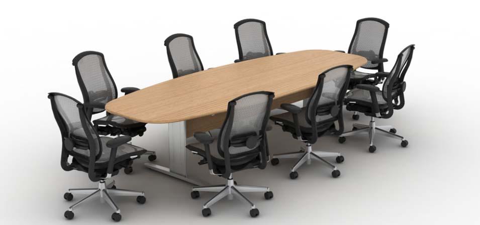 Mesa de Reunião Oval Uni - Vista Geral com Cadeiras