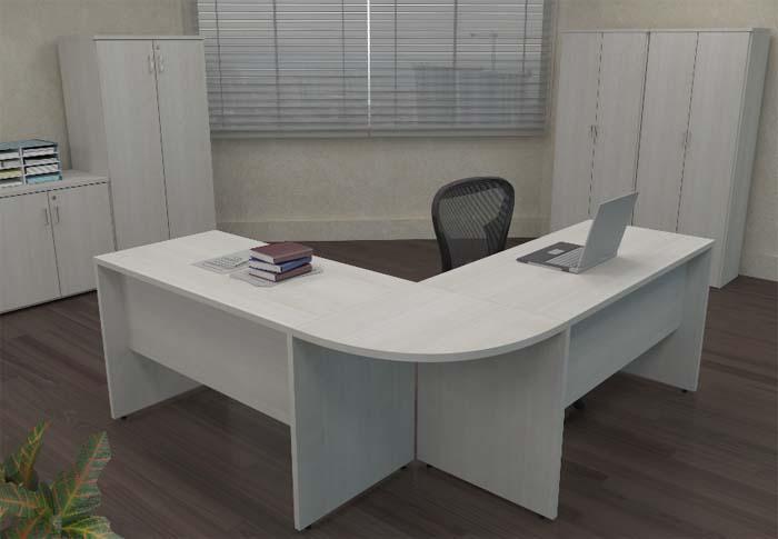 Mesa em L Pé Painel Corp BL - Vista Ampliada