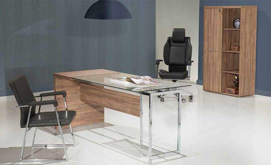 Mesa Para Escritório Com Tampo de Vidro Ivy - Vista Ampla
