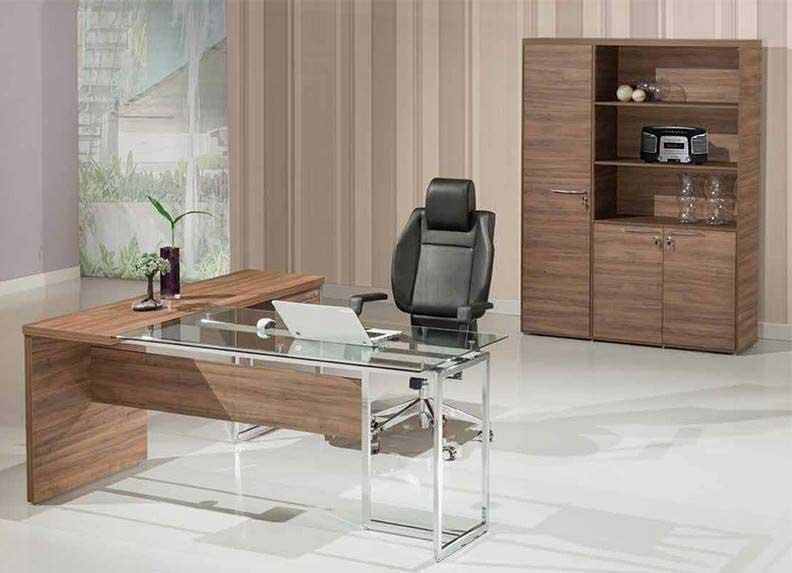 Mesa Para Escritório Com Tampo de Vidro Ivy - Em L
