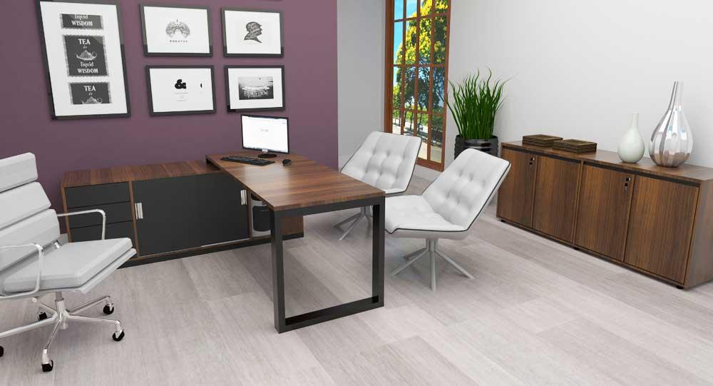 Mesa para Escritório Diretoria Person - Com Armário em L