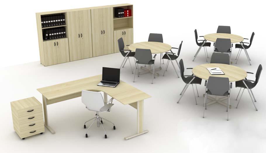 Mesa Para Escritório Light - Conjunto Completo