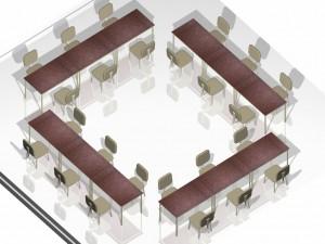 Mesa Para Escritório Reta - Conjunto Aberto Quadrangular