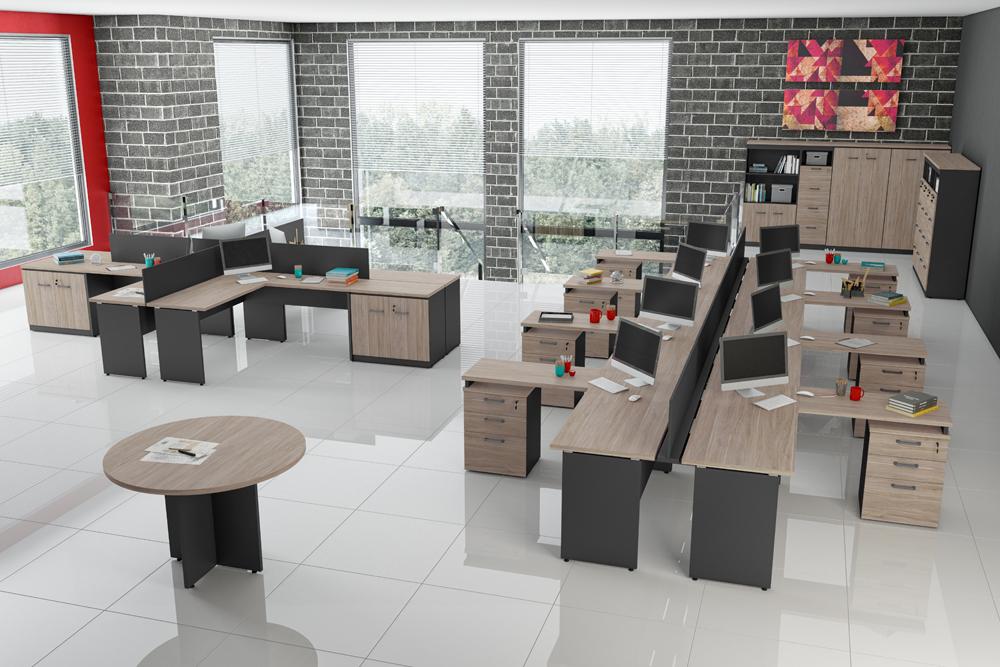 Mesa Plataforma Com Armário Lateral - Vista Se Cadeiras