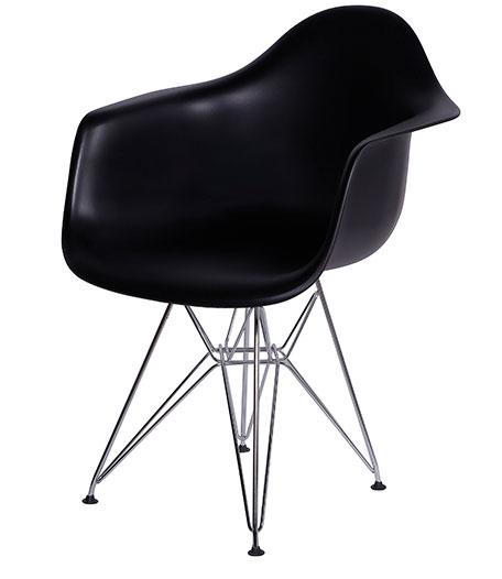 Poltrona Charles Eames, estrutura cromada e em madeira. Cadeiras para escritório em SP