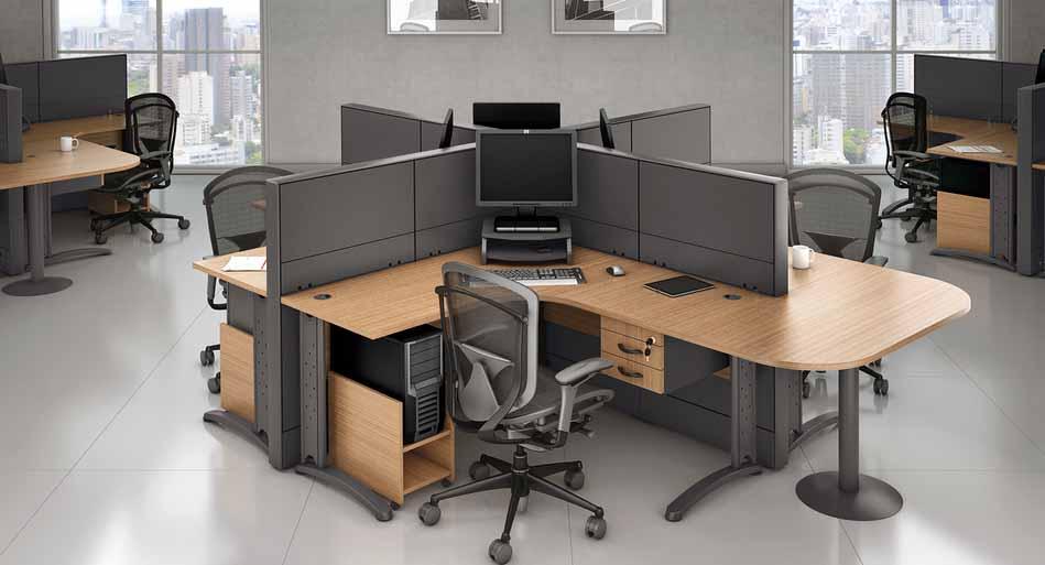 Estação de Trabalho 4 Pessoas Corp - Estação de Trabalho Luxo - Moveis para Escritorio SP