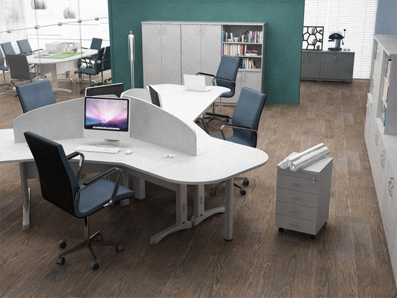 Estação de Trabalho para 3 Usuários - Estação de Trabalho Luxo - Moveis para Escritorio SP