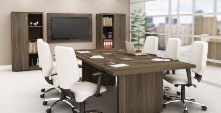 Mesa de Reunião Premium 40mm - Cadeiras Brancas