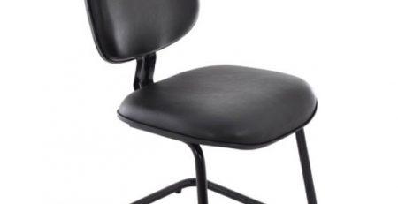 Cadeira Fixa Secretária Executiva - Base em S - Sem Braços - Preta