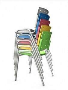 Cadeira Empilhável de polipropileno, Cadeira Empilhável de plástico, Cadeira Empilhável colorida