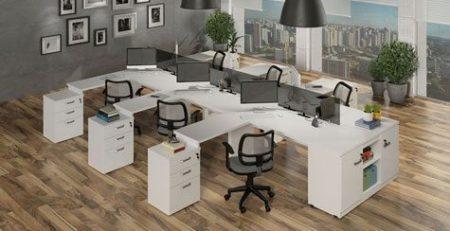 Mesa plataforma, mesa branca para escritório, mesa para escritório branca, móveis para escritório em SP