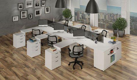 Mesa plataforma com armário lateral - _destaque - Moveis para Escritorio SP