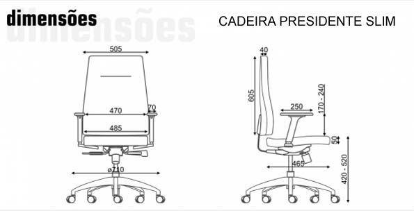 Cadeira Presidente Slim - Dimensões