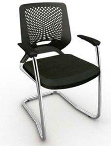 Cadeira fixa estofada - Cadeira de plástico - Moveis para Escritorio SP