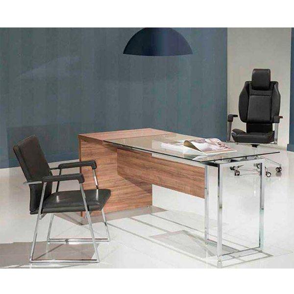 Mesa para escritório com tampo de vidro Ivy - _destaque - Moveis para Escritorio SP