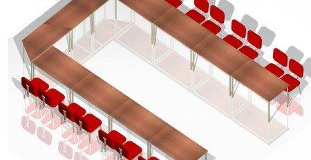 Mesa para treinamento em U, mesa de treinamento