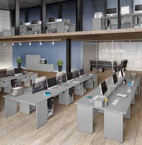 Mesa Para Escritório Y - Modelo reto