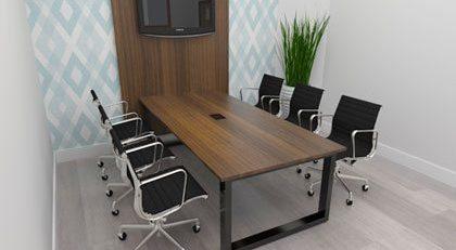 Mesa de reunião com painel para TV, móveis para escritório em SP