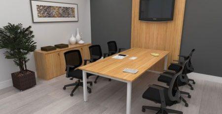 Mesa de reunião, mesa plataforma, mesa de reunião com painel para TV, móveis para escritório em SP