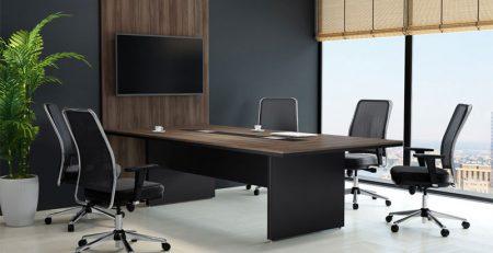 Mesa de reunião luxo, mesa de reuniao com painel para tv