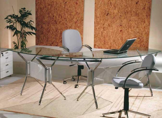 Mesa para consultório com tampo de vidro - Base para mesa cromada vidro - Moveis para Escritorio SP