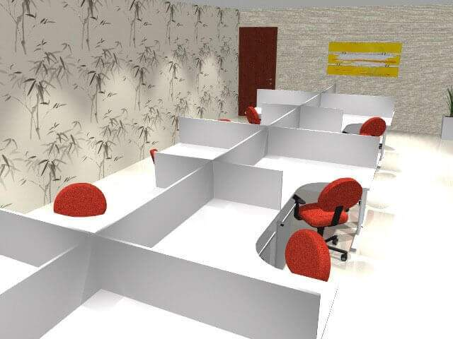 Móveis Planejados Para Escritório - Branco Com Vermelho
