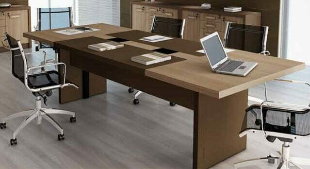 Mesa de reunião retangular em MDF de 44mm - _destaque - Moveis para Escritorio SP