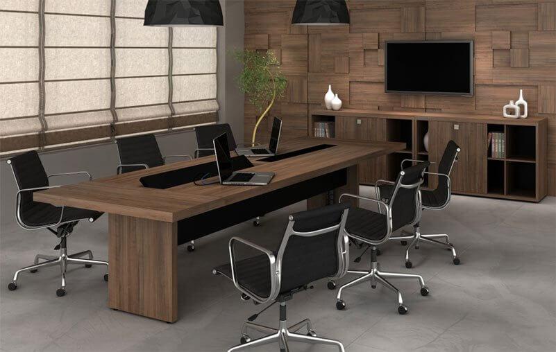 Mesa de reunião retangular 50mm Alt - Destaque - Moveis para Escritorio SP