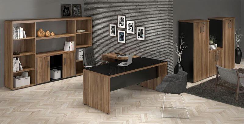Mesa em L Com Tampo de Vidro - Vista do escritório