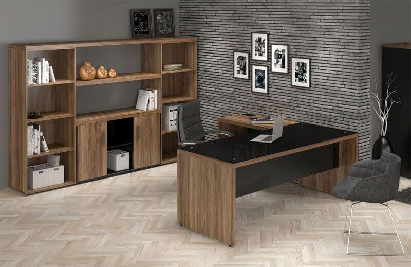 Mesa em L Com Tampo de Vidro - Destaque - Moveis para Escritorio SP
