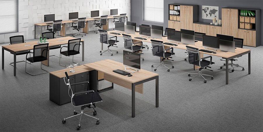 Mesa Plataforma Fit - Cadeiras em Tela Pretas