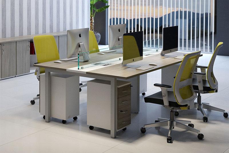 Mesa Plataforma 4 Pessoas - Estação de Trabalho Luxo - Moveis para Escritorio SP